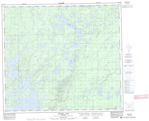 064A12 Jensen Lake Canadian topographic map, 1:50,000 scale