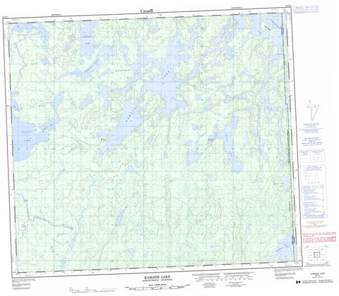 064D01 Kamatsi Lake Canadian topographic map, 1:50,000 scale