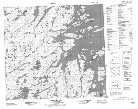 064E02 Wepusko Bay Canadian topographic map, 1:50,000 scale