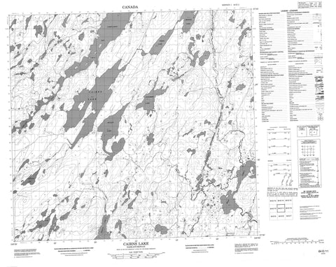 064E11 Cairns Lake Canadian topographic map, 1:50,000 scale