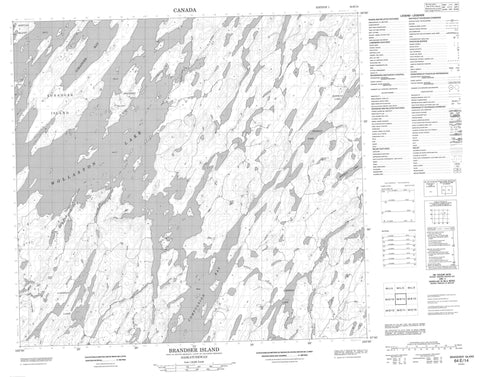 064E14 Brandser Island Canadian topographic map, 1:50,000 scale