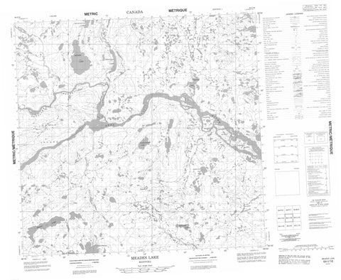 064I16 Meades Lake Canadian topographic map, 1:50,000 scale