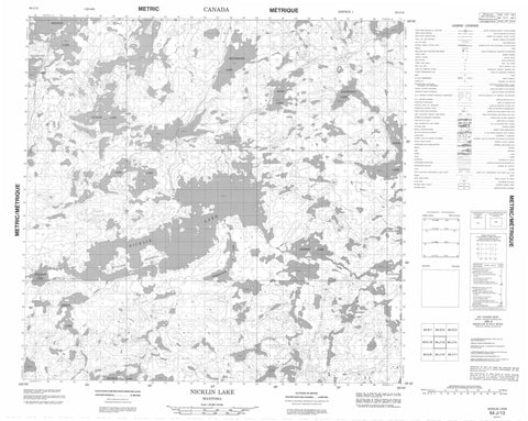 064J13 Nicklin Lake Canadian topographic map, 1:50,000 scale
