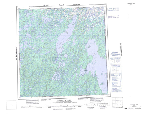 065D Snowbird Lake Canadian topographic map, 1:250,000 scale