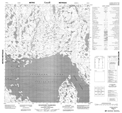 066B11 Koangok Narrows Canadian topographic map, 1:50,000 scale