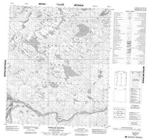 066C11 Thelon Bluffs Canadian topographic map, 1:50,000 scale