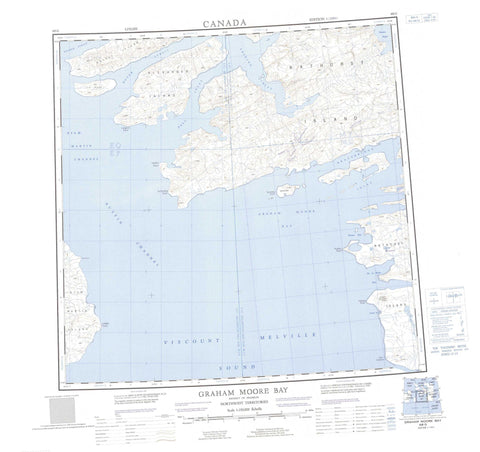 068G Graham Moore Bay Canadian topographic map, 1:250,000 scale