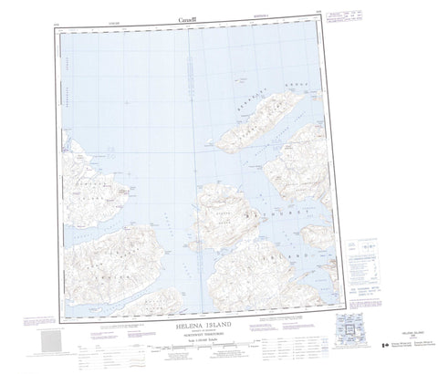 069B Helena Island Canadian topographic map, 1:250,000 scale