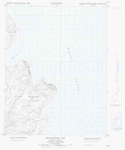 069E12 Helicopter Bay Canadian topographic map, 1:50,000 scale