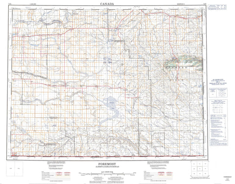 072E Foremost Canadian topographic map, 1:250,000 scale