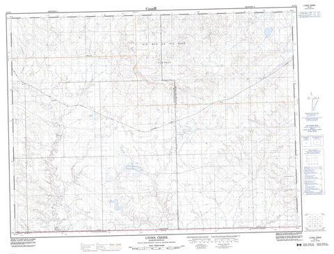 072F03 Lyons Creek Canadian topographic map, 1:50,000 scale