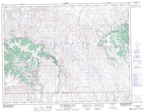 072F12 Hungerford Lakes Canadian topographic map, 1:50,000 scale