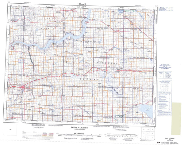 072J Swift Current Canadian topographic map, 1:250,000 scale