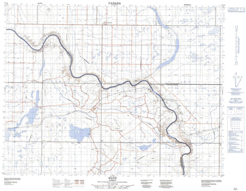 072L04 Hays Canadian topographic map, 1:50,000 scale