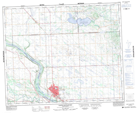 073C16 North Battleford Canadian topographic map, 1:50,000 scale