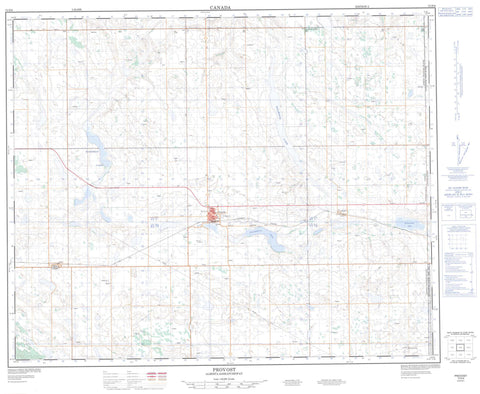 073D08 Provost Canadian topographic map, 1:50,000 scale