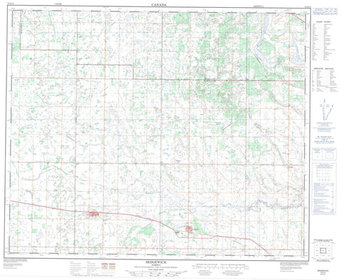 073D13 Sedgewick Canadian topographic map, 1:50,000 scale