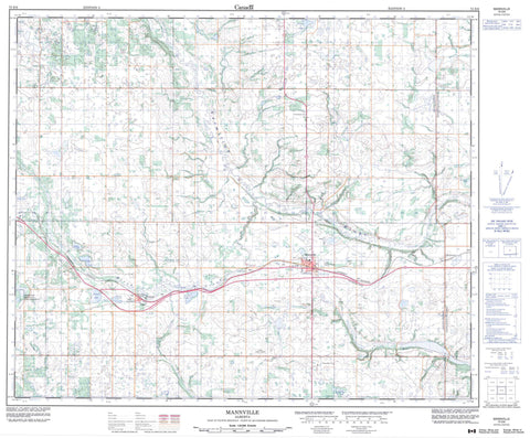 073E06 Mannville Canadian topographic map, 1:50,000 scale