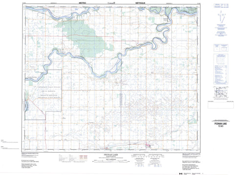 073H03 Peonan Lake Canadian topographic map, 1:50,000 scale