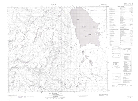 073I08 Big Sandy Lake Canadian topographic map, 1:50,000 scale