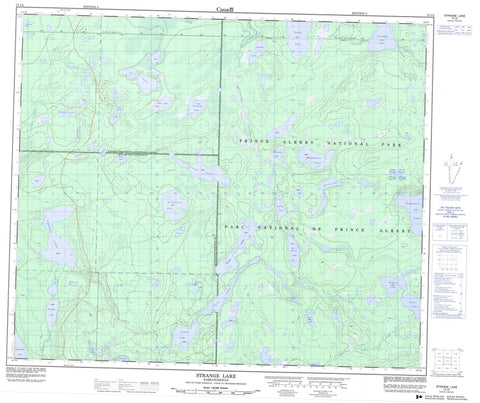 073J02 Strange Lake Canadian topographic map, 1:50,000 scale