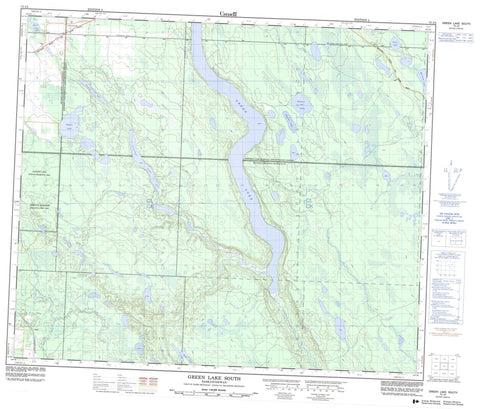 073J04 Green Lake South Canadian topographic map, 1:50,000 scale