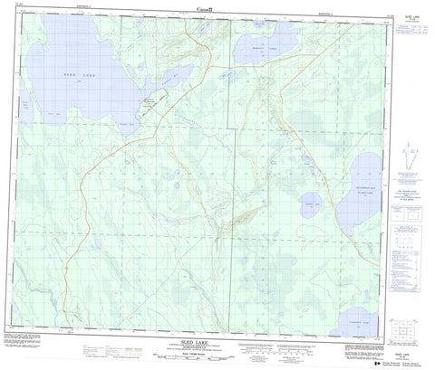 073J06 Sled Lake Canadian topographic map, 1:50,000 scale