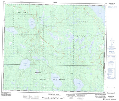 073J08 Musquash Lake Canadian topographic map, 1:50,000 scale