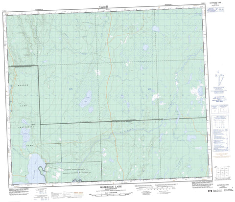 073K09 Waterhen Lake Canadian topographic map, 1:50,000 scale