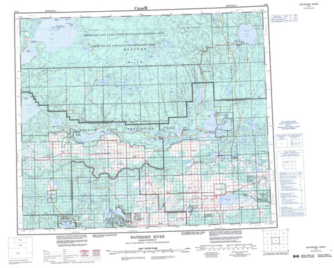 073K Waterhen River Canadian topographic map, 1:250,000 scale