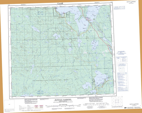 073N Buffalo Narrows Canadian topographic map, 1:250,000 scale