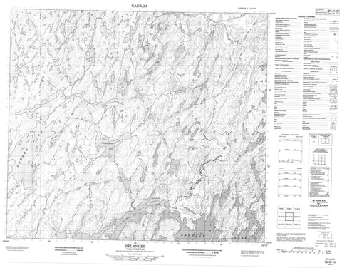 073O16 Belanger Canadian topographic map, 1:50,000 scale