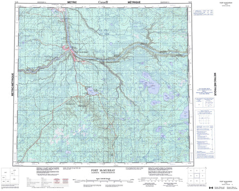 074D Fort Mcmurray Canadian topographic map, 1:250,000 scale