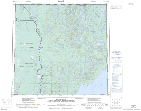 074M Fitzgerald Canadian topographic map, 1:250,000 scale