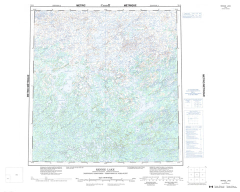075H Rennie Lake Canadian topographic map, 1:250,000 scale