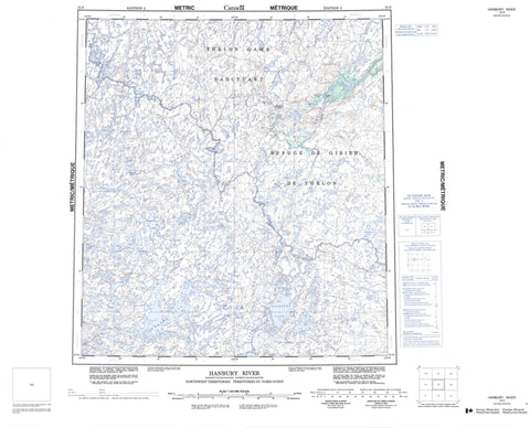 075P Hanbury River Canadian topographic map, 1:250,000 scale