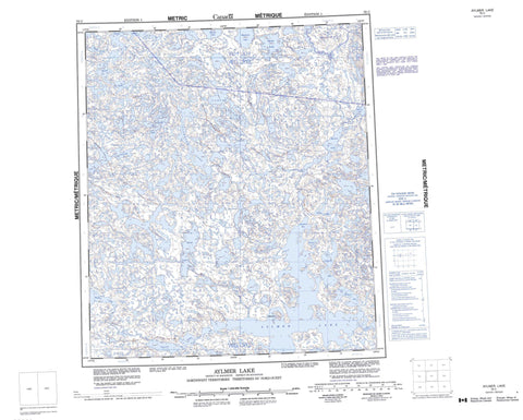 076C Aylmer Lake Canadian topographic map, 1:250,000 scale