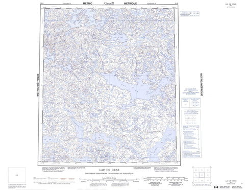 076D Lac De Gras Canadian topographic map, 1:250,000 scale