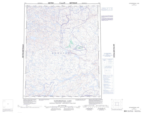 076L Kathawachaga Lake Canadian topographic map, 1:250,000 scale