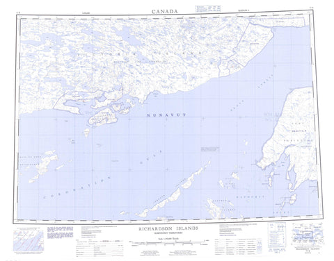 077B Richardson Islands Canadian topographic map, 1:250,000 scale