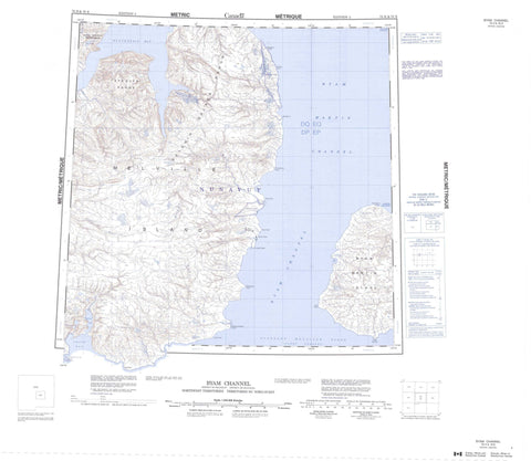 078H Byam Channel Canadian topographic map, 1:250,000 scale