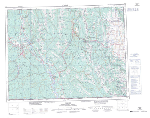 082G Fernie Canadian topographic map, 1:250,000 scale