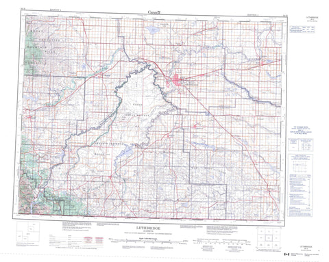 082H Lethbridge Canadian topographic map, 1:250,000 scale