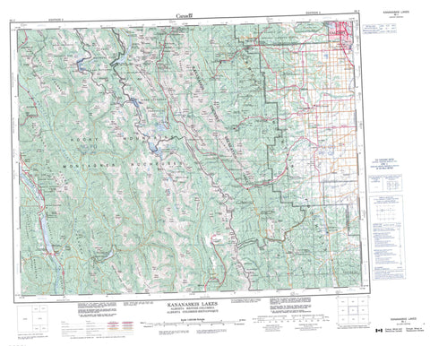 082J Kananaskis Lakes Canadian topographic map, 1:250,000 scale