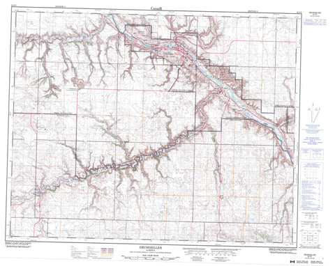 082P07 Drumheller Canadian topographic map, 1:50,000 scale