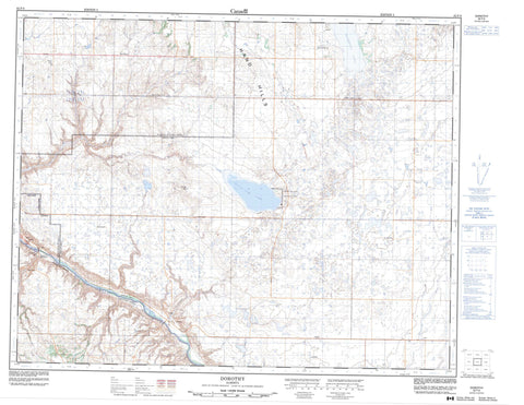 082P08 Dorothy Canadian topographic map, 1:50,000 scale
