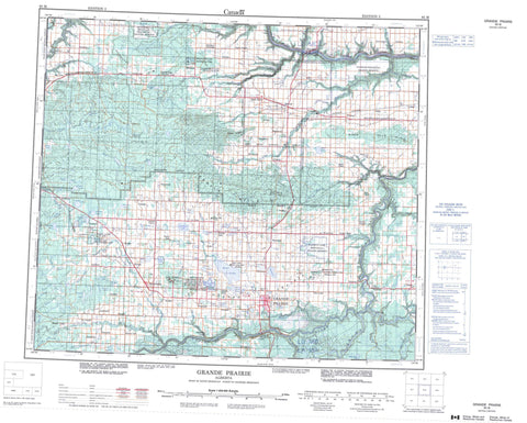 083M Grande Prairie Canadian topographic map, 1:250,000 scale