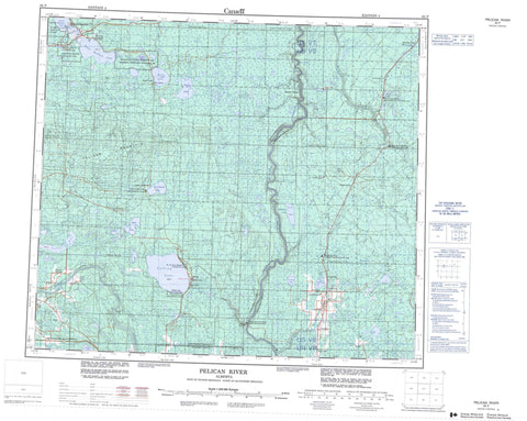 083P Pelican River Canadian topographic map, 1:250,000 scale