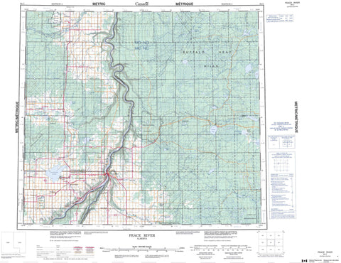 084C Peace River Canadian topographic map, 1:250,000 scale