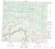 084D Clear Hills Canadian topographic map, 1:250,000 scale from Alberta Map Store
